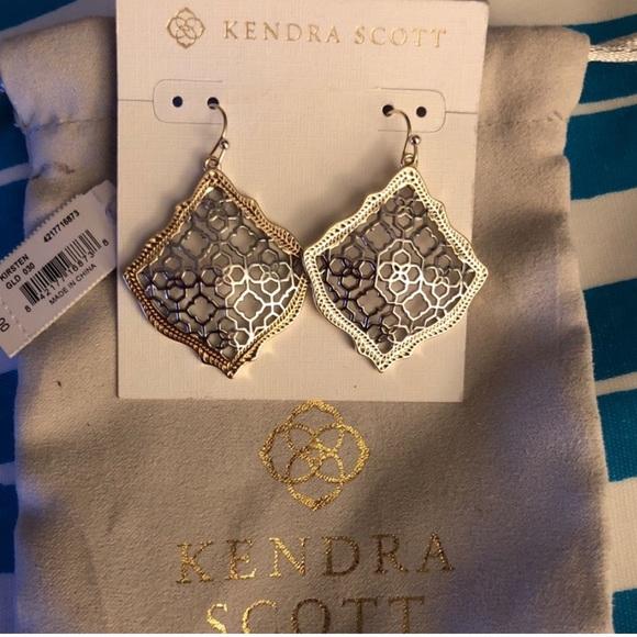 75e022e12b615a Kendra Scott Jewelry | Kirsten Gold Drop Earrings In Silver Filigree ...